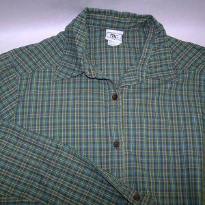 Womans Long Sleeve Green Plaid Maternity Shirt